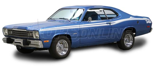 Rubber Weatherstrips (Weather Seals):1973 thru 1976 Plymouth Scamp, Duster & Valiant (A Body) Hardtop & Fastback Coupe