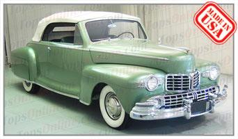 Convertible Tops & Accessories:1946 thru 1948 Lincoln 2 Door Convertible Coupe Model 76 (Body Style 66H76, 76H76 & 876H76)