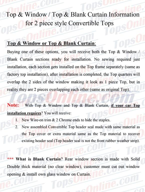 convertible top with zipper window options - 6 year warranty