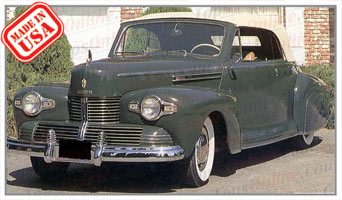Convertible Tops & Accessories:1940 thru 1942 Lincoln Zephyr 2 Door Convertible Coupe (6 Passenger)