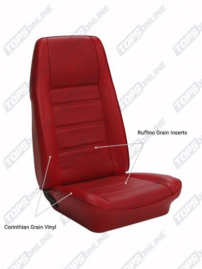 Seat Covers:1972 thru 1973 Ford Mustang (Convertible, Coupe, and Sportsroof) Standard Upholstery