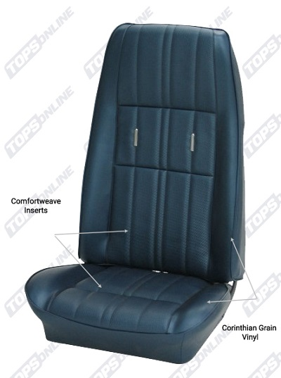 Seat Covers:1972 thru 1973 Ford Mustang (Convertible, Coupe, and Sportsroof) Deluxe Upholstery