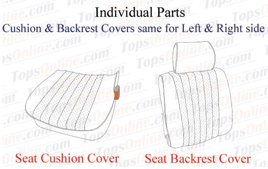 Seat Covers:1980 thru 1985 Mercedes 450SL, 380SL, 280SL & 500SL Convertible (R107 Chassis)