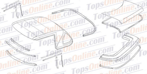 Rubber Weatherstrips:1972 thru 1989 Mercedes 280SL, 300SL, 350SL, 380SL, 420SL, 450SL, 500SL & 560SL (R107) Convertible