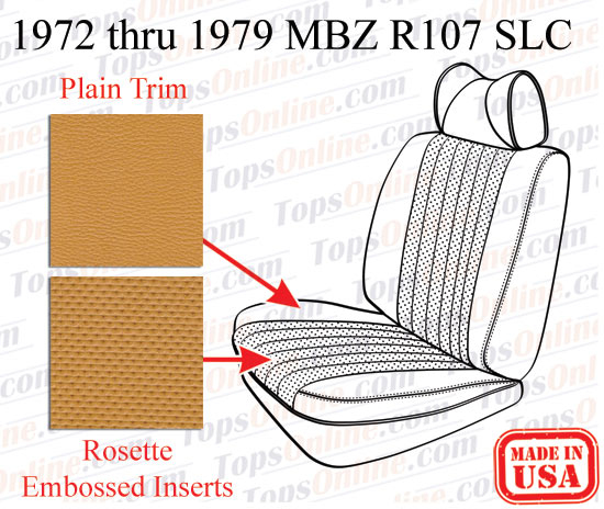 Seat Covers:1972 thru 1979 Mercedes 450SLC, 350SLC & 280SLC 2 Door Coupe (C107 Chassis)