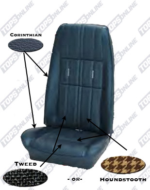 Seat Covers:1971 Ford Mustang (Convertible, Coupe, and Sportsroof) Deluxe Upholstery